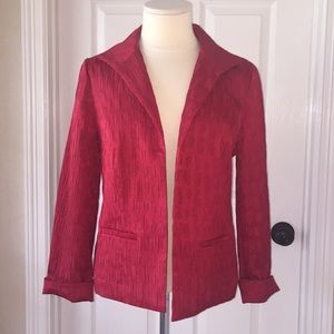 Chico's Red Blazer Suit Jacket Sz 1 Crinkle Look